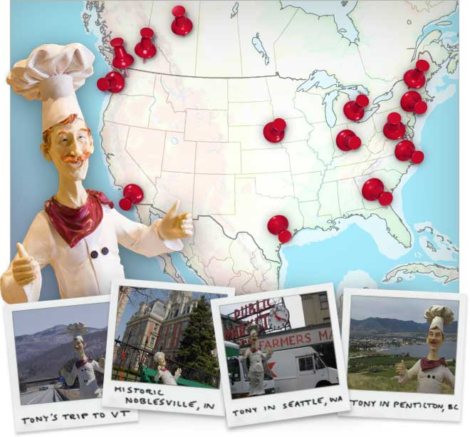 Map of Chef Tony's Travels